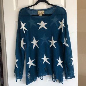Wildfox Lennon Sweater in blue lagoon XS